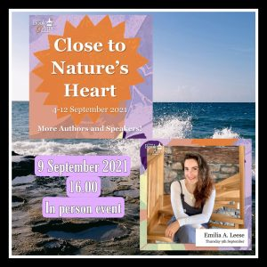 background of waves crashing on rocks photo of white woman sitting on stairs heading close to nature's heart Nairn book & arts festival