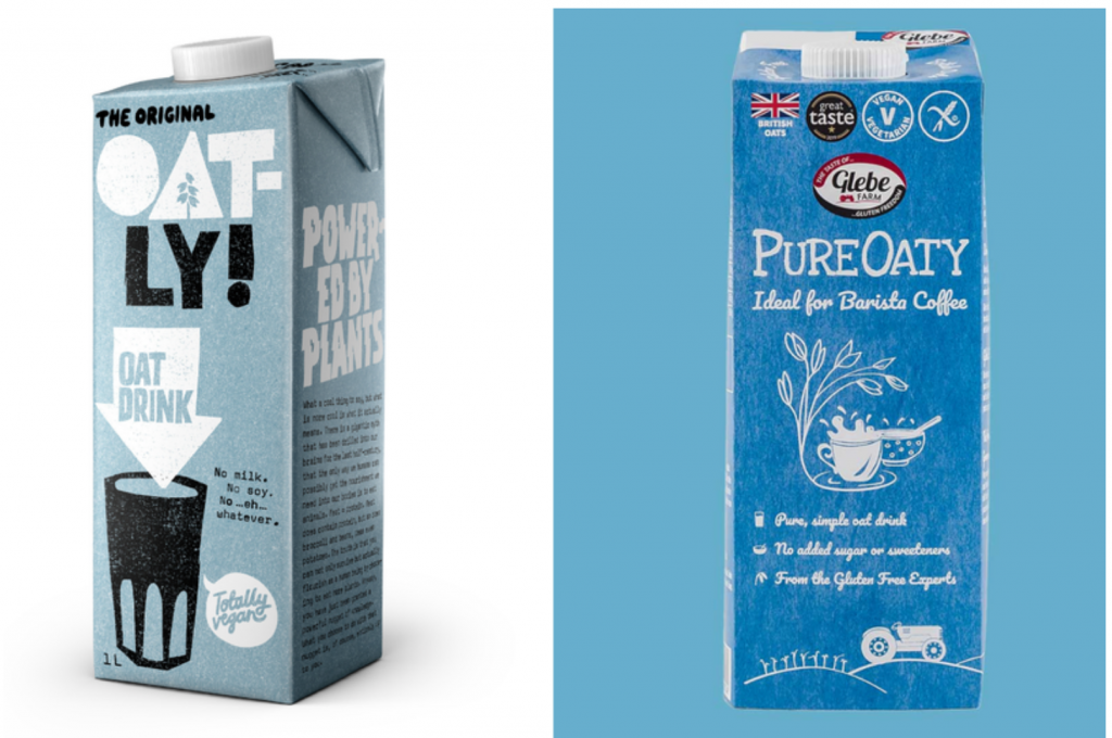 On the left a container of Oatly oat milk. On the right a container of PureOaty oat milk